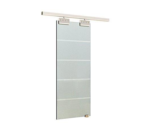 Homcom porta scorrevole interna in vetro smerigliato e satinato con binario e maniglia per bagno cucina studio 205 x 102.5 x 0,8cm