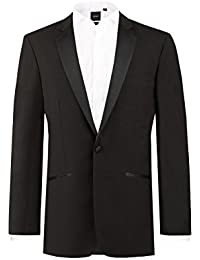 Dobell Mens Formalwear Smart Regular Fit 1 Button Black Dinner Jacket 100% Wool
