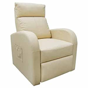 Poltrona riscaldabile elettrica e regolabile bianca con for Poltrona massaggiante amazon