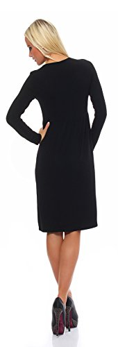 Mississhop Damen Kleid Minikleid Tunika Knielang 36 38 40 42 Schwarz