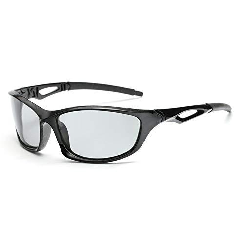 Gafas de sol Fotocromáticas Hombres Mujeres HD Polarizado Deportes Ciclismo Gafas de Long Keeper (Gris Brillante)