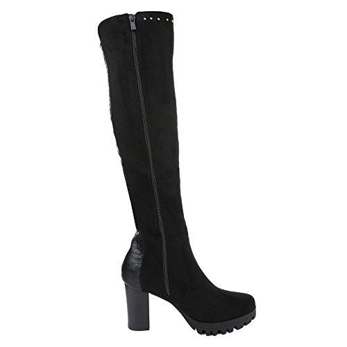 Damen Schuhe Nieten Besetzte Klassischer Stiefel Reißverschluss Overknee Stiefel Stiefel Pump Schwarz