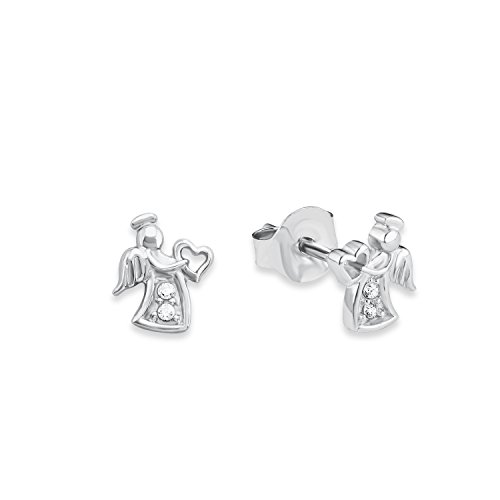 Price comparison product image s.Oliver 565653 Teenage Girls' Angel Pierced Earrings 7 mm in Rhodium-Plated 925 Silver,  White Zirconia