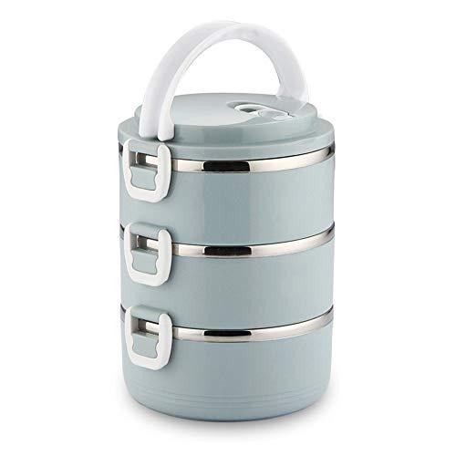 Lunchbox (quadratisch mit isoliertem Lunchpaket) Bento-Box (stapelbare Lunchboxen aus Edelstahl) mit Löffel für die Kinderschule und das Büro für Erwachsene,A,2 -