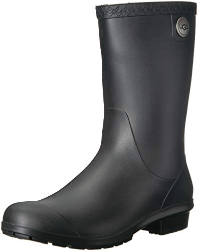 UGG Women's Sienna Matte Rain Boot, Black, 5 M US