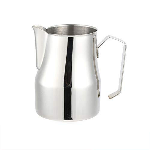 STSERI Jarra espumosa de Leche, Acero Inoxidable Café expreso Leche al Vapor y Jarra espumosa, Capuchino Latte Art Making Pitcher Cups,350ML