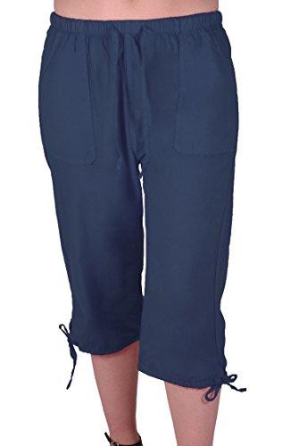 EyeCatchClothing Oregon Frauen Capri Crop Shorts Hosen Damen 3/4 Dreiviertelhose Navy Gr. X-Large Capri Crop Hose