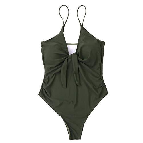 Bañador de Mujer Bikini Traje de baño de Color sólido siamés, Verde Militar, S