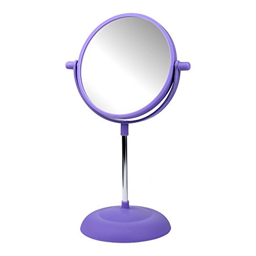 Schramm Onlinehandel Kosmetik Spiegel Bunt 15cm in 4 Farben wählbar Kosmetikspiegel Schminkspiegel beidseitig, Farbe:Lila