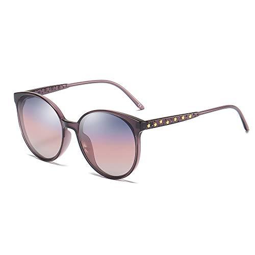 BLEVET Oversized Rund Damen Sonnenbrille Polarisierte Fahrer Brille 100% UV400 BX009 (Purple Frame Grey & Red Lens)