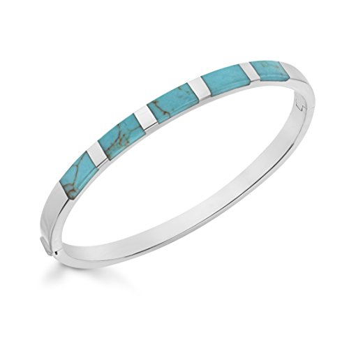 Tuscany Silver Sterling Silver Turquoise Torque Bangle