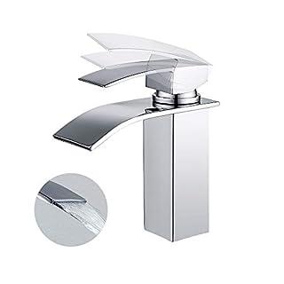 Homelody Wasserhahn Bad Armatur Wasserfall Mischbatterie Badarmatur Einhebelmischer Waschbecken Waschtischbatterie für Badezimmer Waschtisch