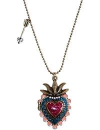 Estilo Vintage con forma de corazón collar con camafeo con gliterring esmalte y cristales (se envía en una bolsa de regalo)