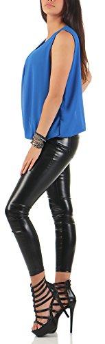 malito Elegante Leggero Camicetta Canottiera 6879 Donna Taglia Unica Blu