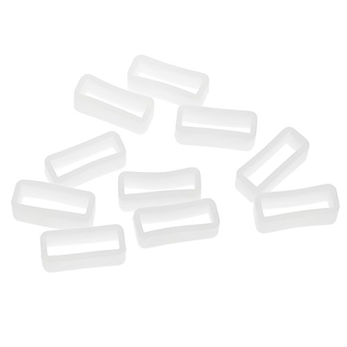 IPOTCH 10 Pcs Gummi Uhrenzubehör Gummi Uhrenarmband Schlaufe Gummihalter für Unisex Uhren - Weiß, 20mm