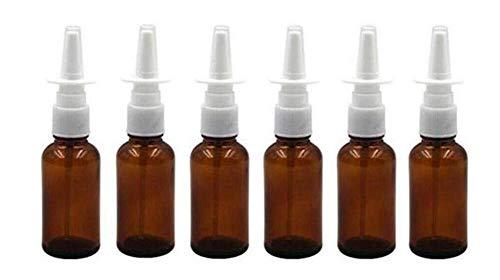 Nasenspray, 20 ml, leer, bernsteinfarbener Glas, nachfüllbar, feine Zerstäuber, Make-up-Behälter für Kosmetika, Medizinische Salzwasseranwendungen, 6 Stück