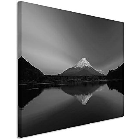 50x 70cm Cuadro Foto lienzo en negro blanco Amanecer Montaña Fuji Japón