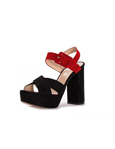 Sandales Avec Talon Noir Daim Malena Noir