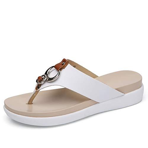 Shukun Chancletas del dedo del pie Son of Man Off The Skid White Soil Summer Day Pregnant Women Personality Travel Slippers Flip Flops Sandals