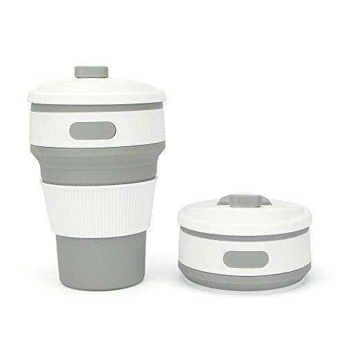 (350ml Silikon Faltbare Tasse Tragbar Kaffeetasse Wiederverwendbare Klappbar Becher Faltende mit Deckel für Reisen Camping Picknick Outdoor Sports BPA-Frei (Grau))