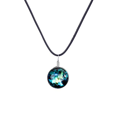 Nebulosa Natural Colgante de Cristal Brilla en la Oscuridad Collar Universo único Collar de Galaxia Joyas para Mujeres Chicas Amantes-Serie Collar Colgante