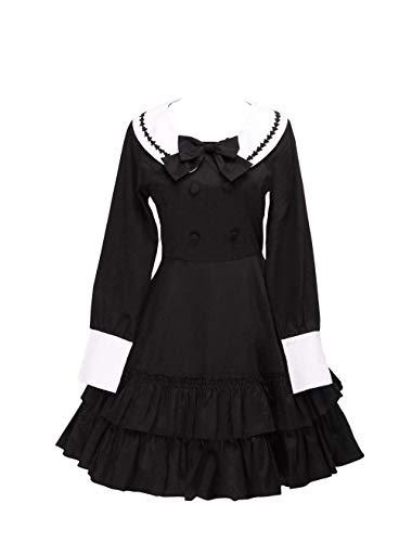 Kostüm Sailor Mädchen Süße - Antaina Schwarz Baumwolle Rüsche Fliege Sailor süß Schüler Knielang Elegant Lolita Cosplay Kleid,XS