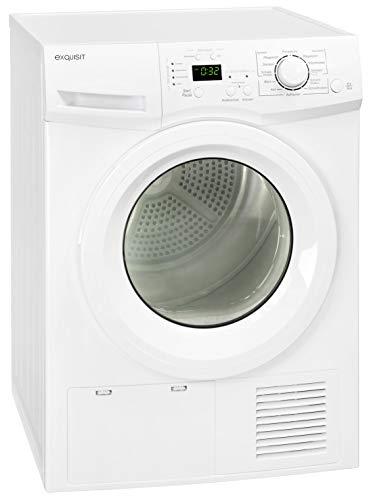 Exquisit TK 810-3 Weiß Kondenstrockner, EEK: B, 8 kg Fassungsvermögen, Vollelektronik, Restlaufanzeige, Display, Innenbeleuchtung