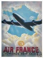 1871 AIR FRANCE EXTRA GRANDE HACIA NEW SKIES METAL PUBLICIDAD SIGNO DE PARED RETRO ART