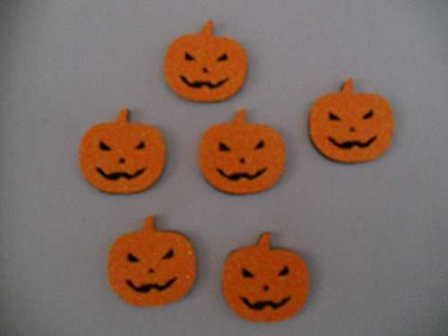 6 Calabazas para decorar en halloween de goma eva brillante. 4,5 x 4,4 cm Silvys