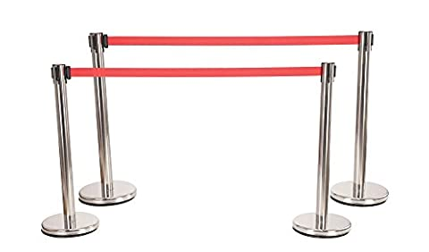 Stagecaptain PLS-200B Barricade Crowd Direction System - Silver 4-Piece SET