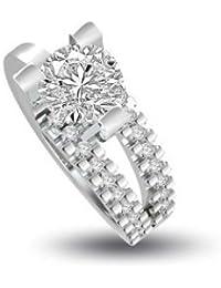 0,40 quilates G/VS1 Anillo solitario de compromiso de diamante para mujer con Redonda diamantes en 18k Oro blanco