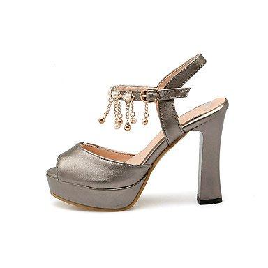 LvYuan Da donna-Sandali-Formale Casual Serata e festa-Con cinghia Club Shoes-Quadrato-Finta pelle-Rosso Bianco Grigio White