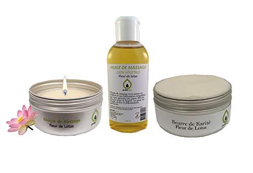 Massage-Set mit Lotusblumen-Duft, 1 Massagekerze, 1 Massagespray, 1 Karité-Butter, 1 Aufbewahrungstasche -