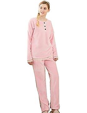 Manica lunga flanella pizzo Ultima donna bordo da notte ispessita pigiama vestaglia invernale che può essere indossato...