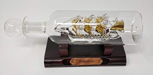 Sterling Effectz Deko-Flaschenfigur, Motiv Endeavour-Schiff im Glas, vergoldet, handgefertigt, für Heimdekoration, Geschenke