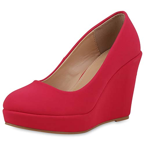 SCARPE VITA Damen Keilpumps Party Keilabsatz Pumps High Heels Plateau Schuhe 168243 Rot 38