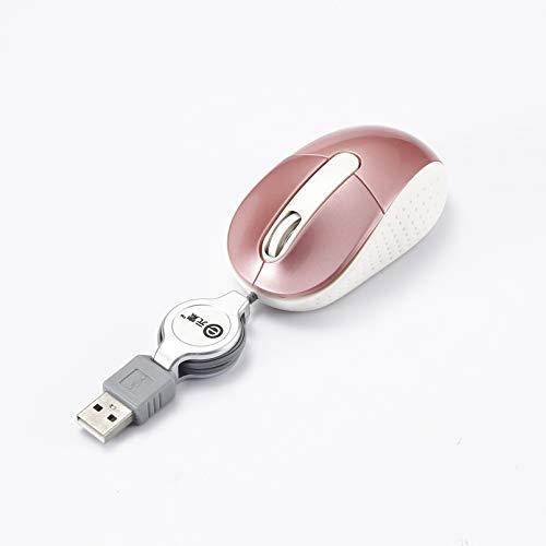 Kleine Maus mit Kabel Mini USB Optische Maus mit DREI Schaltflächen für Laptop Computer, Einziehbares Kabel, Rosa -