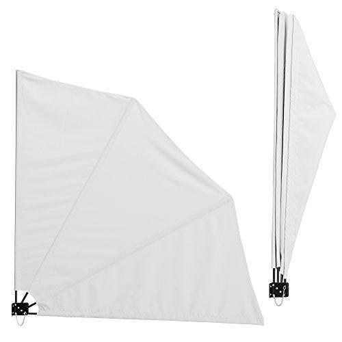 [casa.pro]®] Balkon - Fächermarkise (weiß)(160 x 160 cm) Sichtschutz/Seitenmarkise klappbar/Balkonumspannung/Wandklappschirm