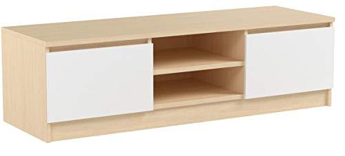 Vicco Lowboard NEVIA Sonome Eiche - Fernsehschrank Sideboard TV Fernsehtisch (Front: Weiß)