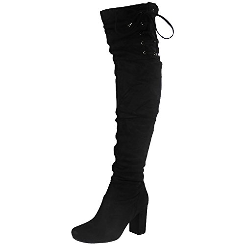 297e22ca1fe Womens Ladies Thigh High Over The Knee Long Lace Up Stretchy Boots.