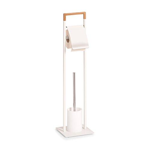 Zeller 18723 WC-Garnitur, WC-Bürste, Metall/Bamboo, weiß, ca. 19 x 19 x 74,5 cm