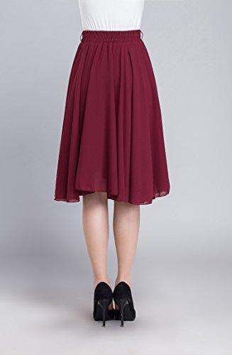 Damen Retro Basic Solid vielseitige dehnbaren Elegant Faltenrock Hohe Taille Midi-Rock Rotwein