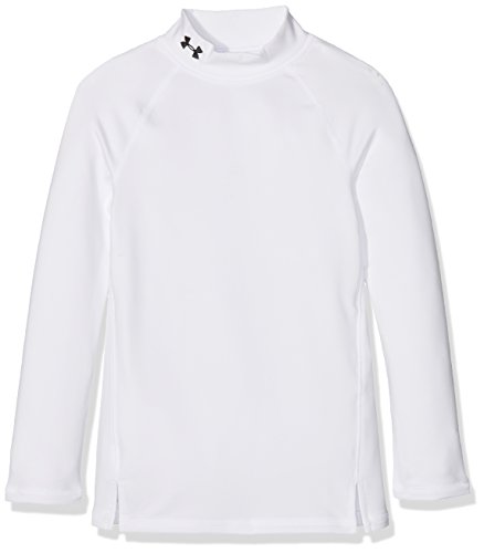 Under Armour Mädchen ColdGear Mock Langarmshirt, White/Black (100), YXL -