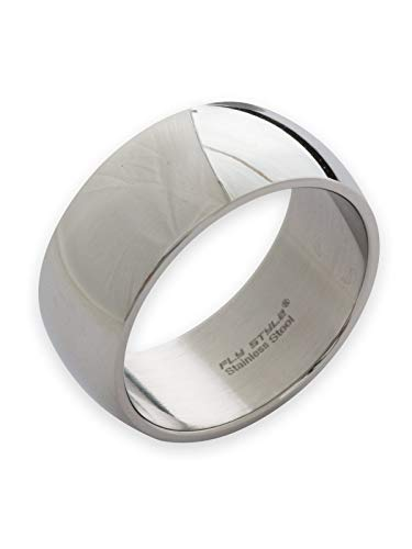 Fly Style Bandring Edelstahl Ring für Damen Herren   8-12 mm breit   matt oder poliert, Ring Grösse:20.0 mm, Oberfläche:10mm Poliert