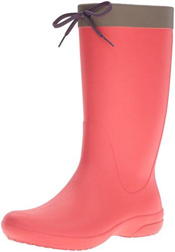 Crocs Fsailrainbootw, A Collo Alto Donna, Rosso (Flame), 37-38