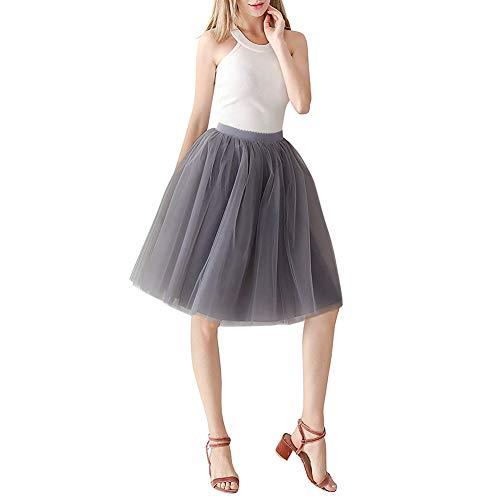 YIDAINLINE Frauen Short Tutu Tüllrock Knielangen Damen Abend Party Kleid Prom Formelle Röcke Abendkleid Ballkleid (Grau Geschwollene Prom Kleider)