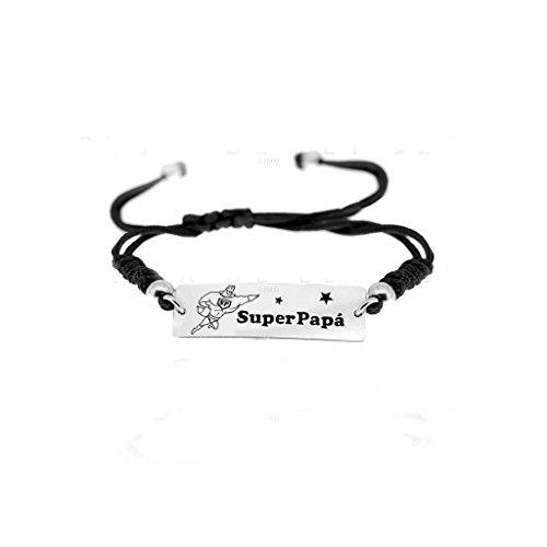"""Braccialetto da uomo, idea regalo per i papà, in macramè, in argento, con scritta: """"super papa'"""""""