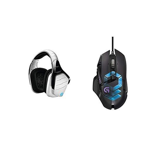LogitechG933 ArtemisSpectrum kabelloses 2,4GHz Gaming-Headset (mit 7.1SurroundSoundPro, geeignet für PC, XboxOne und PS4) weiß & LogitechG502 ProteusSpectrum Gaming-Mausschwarz -
