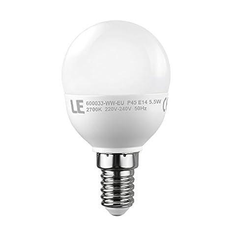 LE 5.5W P45 E14 LED Lampen, Ersatz für 40W Glühlampen, SES Lampe, 420lm, warmweiß, 2700K, 175°Abstrahlwinkel, LED Birnen, LED Leuchtmittel
