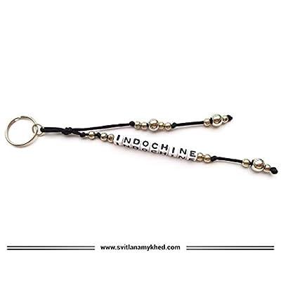 Breloque Porte Clés INDOCHINE Personnalisé avec prénom, message, logo (réversible). Bijoux de sac, cartable Cadeau personnalisé pour homme, femme, enfant